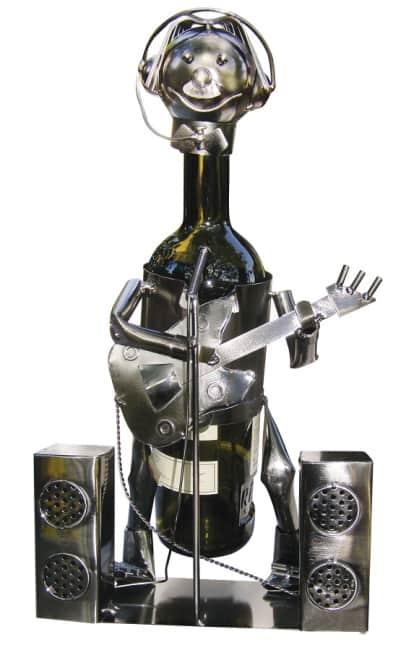 Kovový stojan na víno, motiv hudebník, 21 x 19 x 24cm
