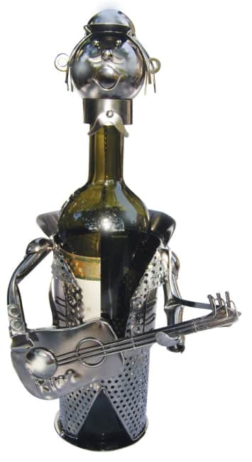Kovový stojan na víno, motiv kytarista
