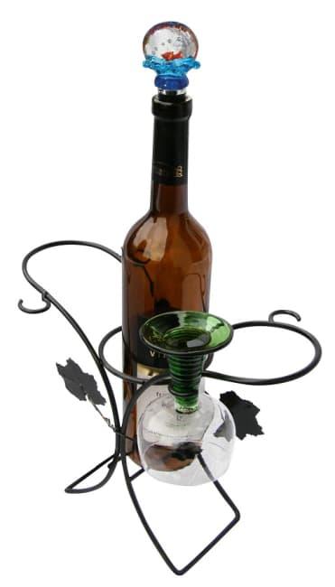 drátěný stojan na 1 láhev a 4 skleničky