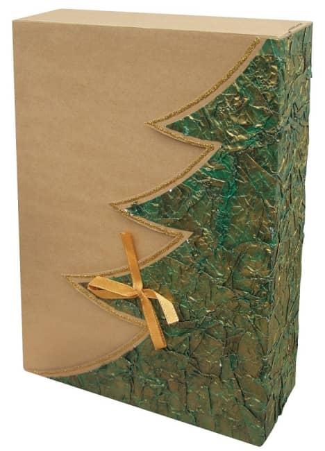 dárková krabička,barva přírodní,motiv plastický zelený strom,zlatý lem