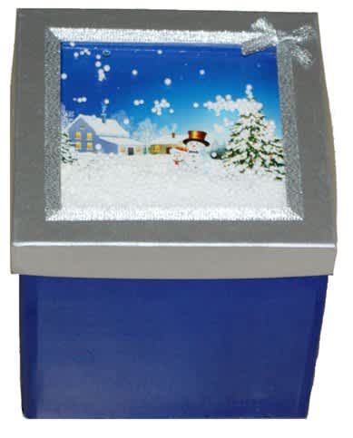 Skládací krabice s vánočním motivem 170x170x170 mm,modro/stříbrná