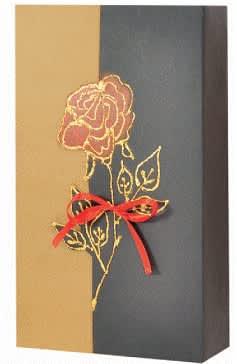 dárková krabička,přírodní/černá,motiv zlatá růže