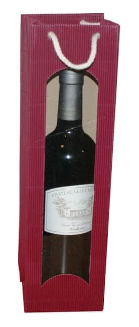 Taška na víno z vlnité lepenky bordo, na 1láhev