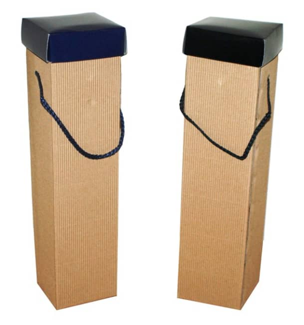 Krabice na láhev,vlnitá lepenka, modré víko