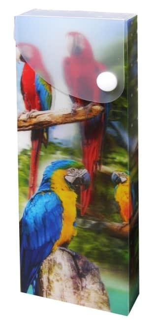 plastový penál, motiv papoušci