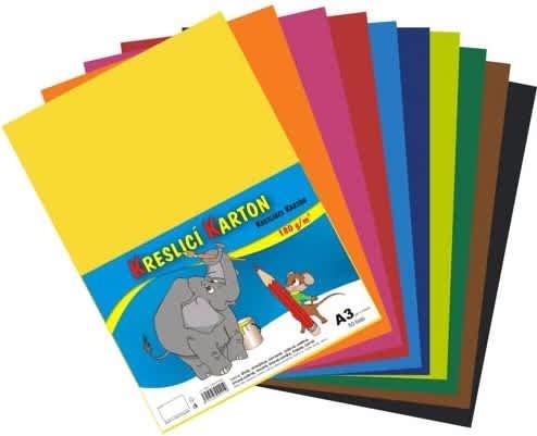 Kreslicí karton barevný A3/50/180g - mix 10 barev/doprodej