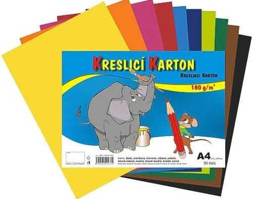 Kreslicí karton barevný A4/50/180g - mix 10 barev/doprodej