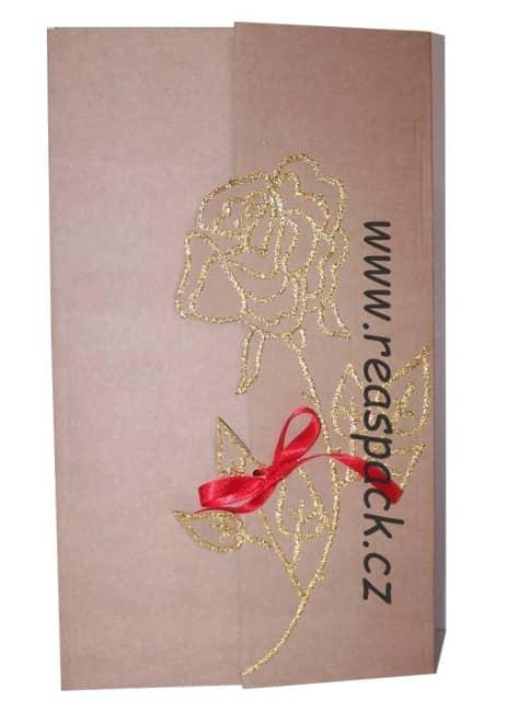 dárková krabička,přírodní,motiv zlatá růže