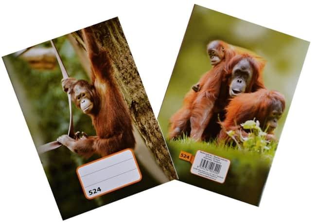 sešit 524,  A5, 20 listů, linkovaný 8 mm, motiv opice