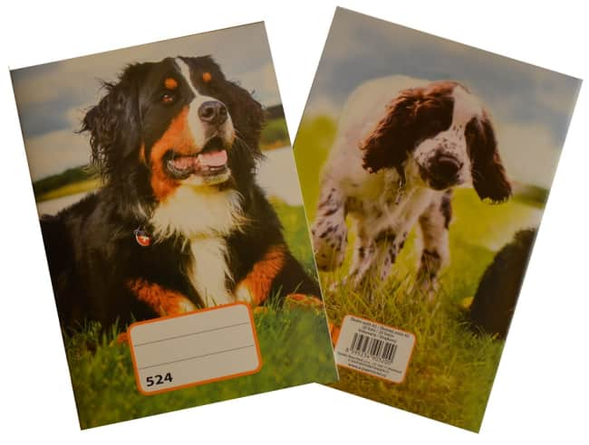 sešit 524, A5, 20 listů, linkovaný 8 mm, motiv pes