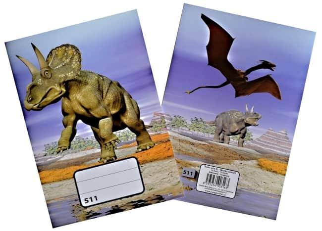 sešit 511, A5, 10 listů, linkovaný 20 mm,motiv dinosaurus