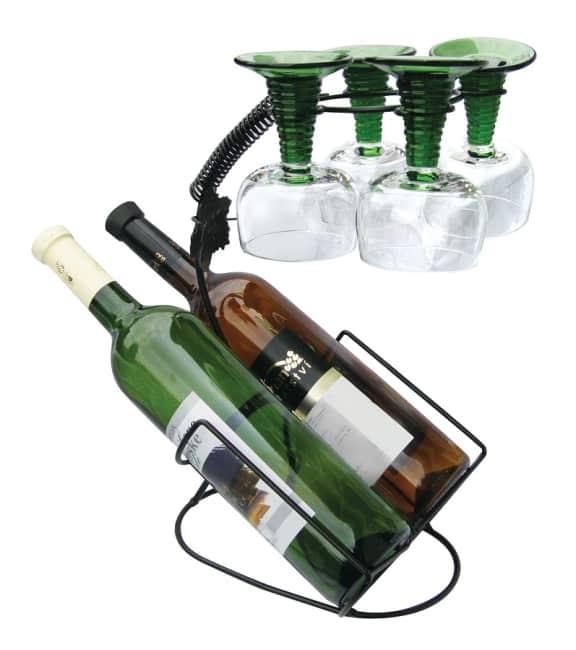 drátěný stojan na 2 láhve a 4 skleničky