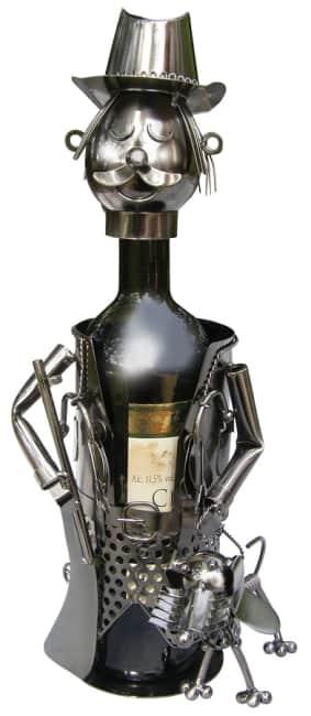 Kovový stojan na víno, motiv myslivec