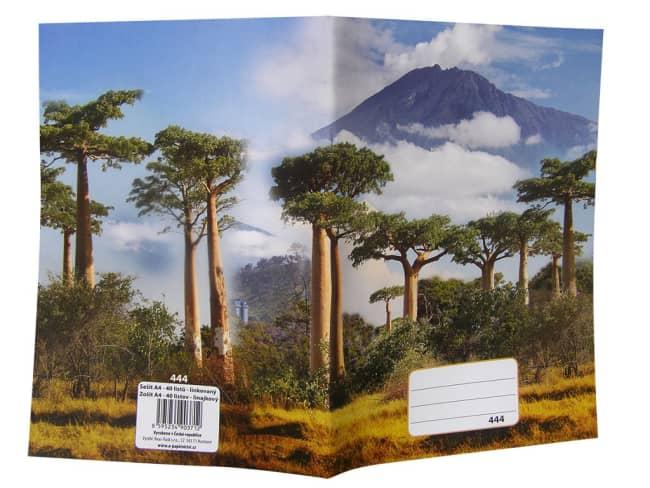 sešit 444, A4, 40 listů, linkovaný 8 mm, motiv Kilimanjaro