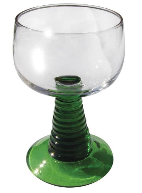 sada 6 skleniček na víno, zelená stopka