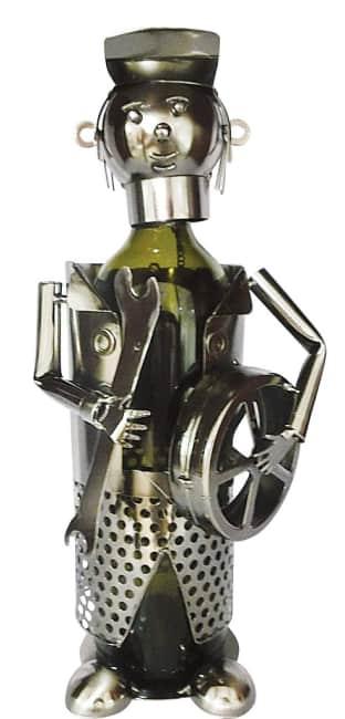 Kovový stojan na víno, motiv automechanik