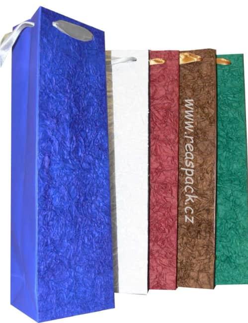 Taška na víno,mačkaný papír,barva ( 5 barev)