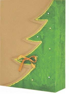 dárková krabička,barva přírodní,motiv zelený strom,zlatý lem,zdobení bílé kamínky
