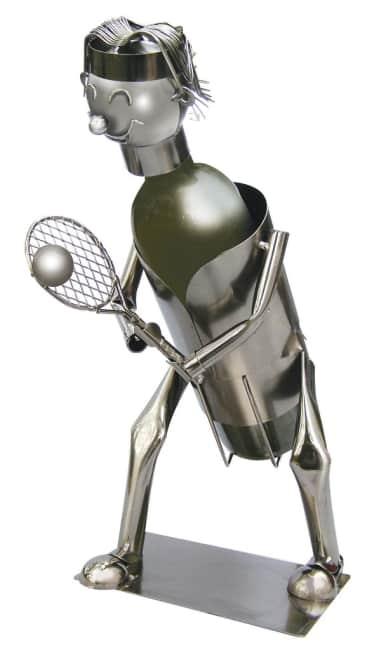 Kovový stojan na víno, motiv tenistka