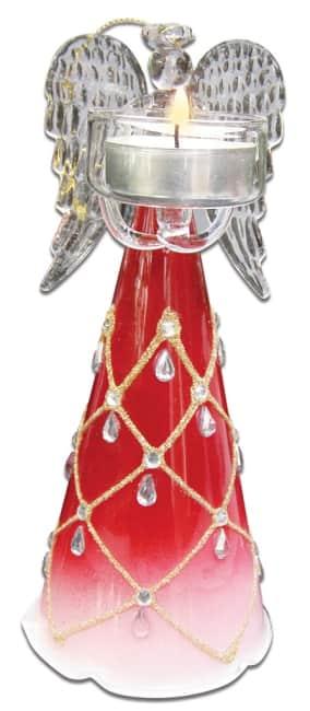 skleněný anděl 20cm,na 1 čajovou svíčku, červený