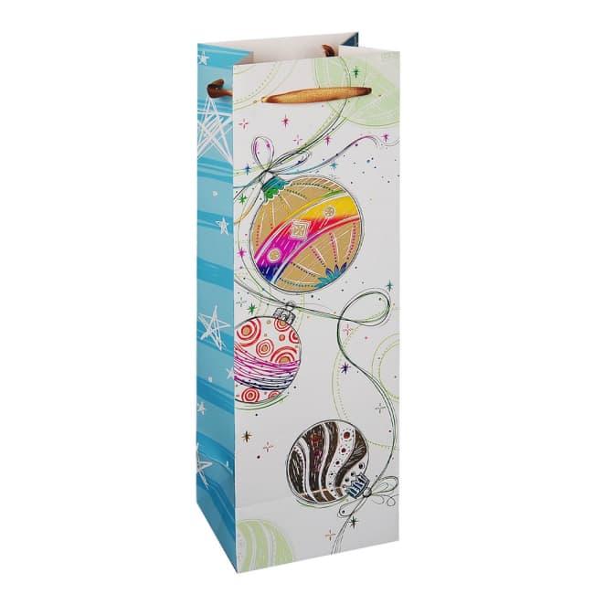 Vánoční dárková taška 12 x 9 x 35cm motiv koule