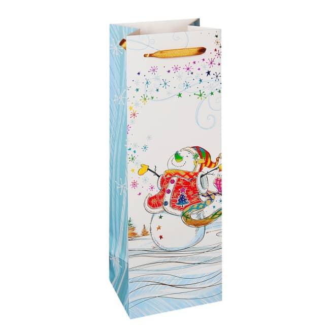 Vánoční dárková taška 12 x 9 x 35cm motiv sněhulák