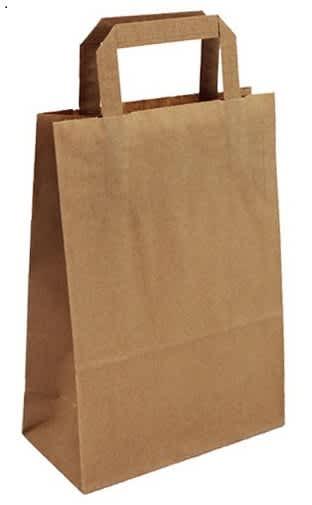 Papírová taška hnědá 20x10x28 s plochým uchem Topcraft