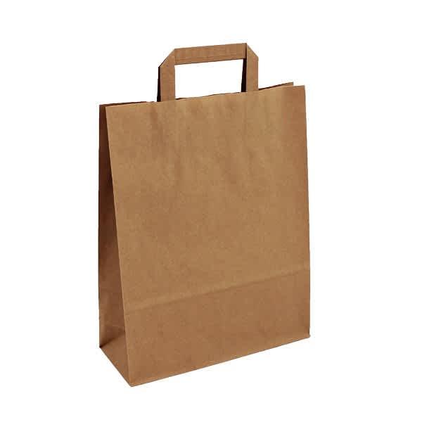 Papírová taška hnědá 26x10x33 s plochým uchem Topcraft