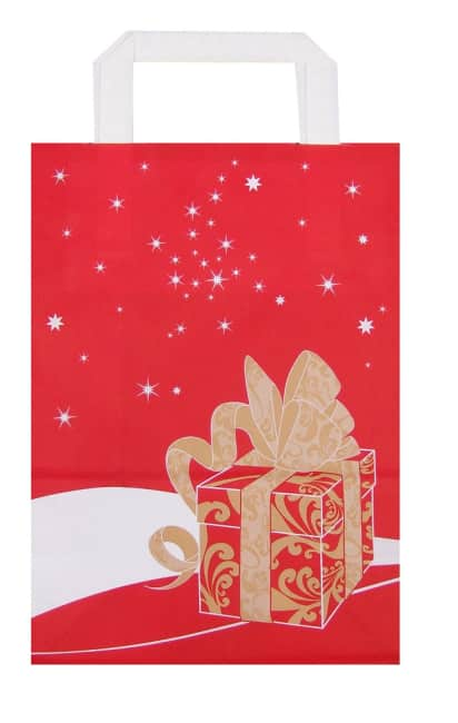 Papírová taška 20x10x28cm, červená Weihnachtsgeschenk