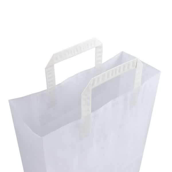 Papírová taška bílá 32x14x42 s plochým uchem Topcraft