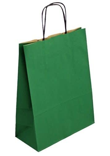 Papírová taška zelená 40x16x45 kroucené ucho vroubkovaný vzhled Toptwist