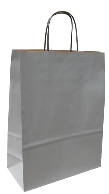 Papírová taška stříbrná 40x16x45 kroucené ucho vroubkovaný vzhled Toptwist