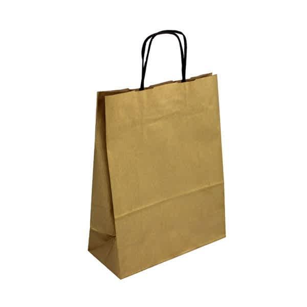 Papírová taška zlatá 24x11x31 kroucené ucho vroubkovaný vzhled Toptwist