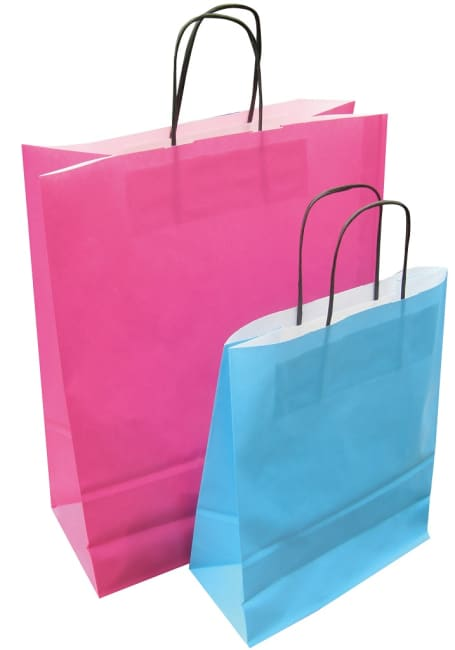 Papírová taška růžová 24x11x31 kroucené ucho  Toptwist