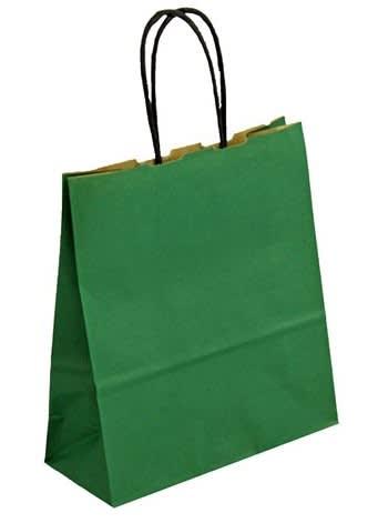 Papírová taška zelená 19x8x21 kroucené ucho vroubkovaný vzhled Toptwist