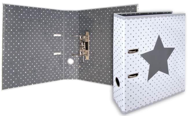 Designový pákový pořadač A4 7cm karton motiv Stars (bílý - hvězda a puntíky)