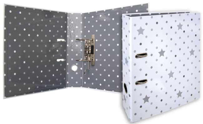 Designový pákový pořadač A4 7cm karton motiv Stars (bílý - hvězdy a puntíky)