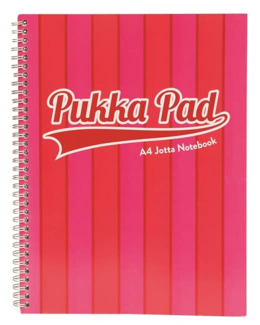 Pukka Pad spirálový blok Jotta Pad A4, 200 stran, linky 8 mm, růžový