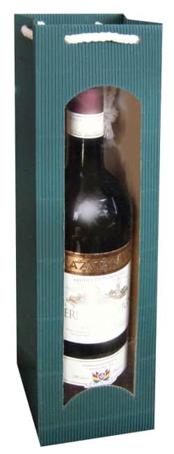 Taška na víno z vlnité lepenky tm. zelená, na 1láhev
