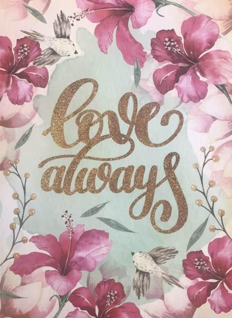 záznamová kniha A5, tvrdá obálka, 80 listů,80 gr, Kolekce Dream, motiv - love always