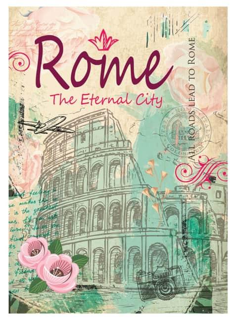 záznamová kniha A4, tvrdá obálka, 80 listů,80 gr, Kolekce Shiny, motiv Řím