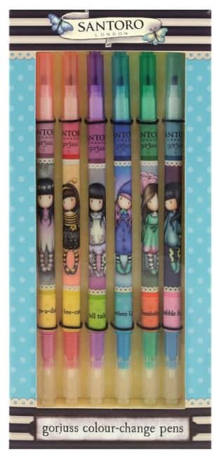 Sada barevných per Santoro London měnících barvu – 6 kusů, 1  x 9.2 x 20 cm