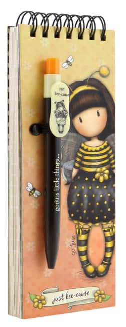 Poznámkový bloček s perem Santoro London - Bee Loved (Just Bee-Cause), 7 x 20 x 1.2cm