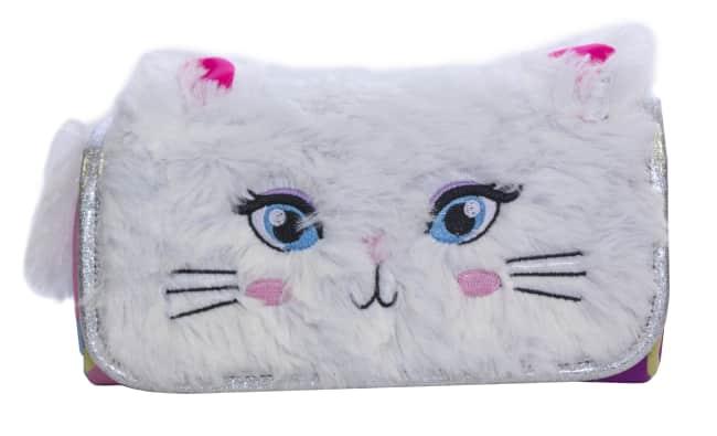 Pukka Roll Up dětský penál na zip, bílý, chlupatý, motiv kočička