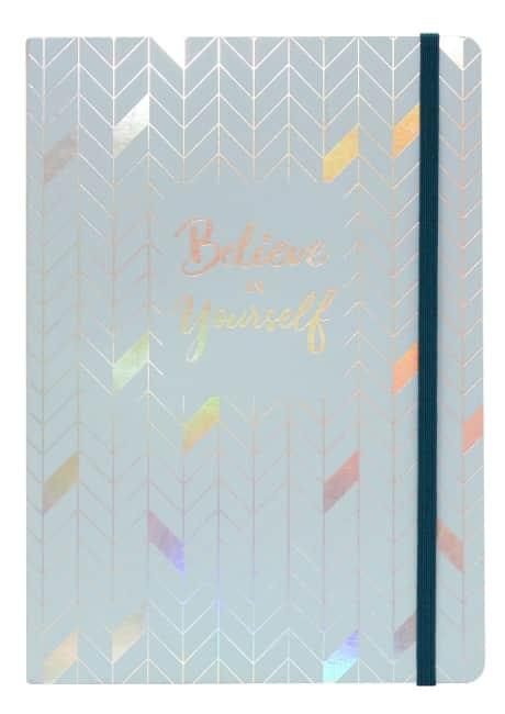 Sešit A5 a elastickým uzávěrem,šedo modrý,  96 listů, krémový papír 80g