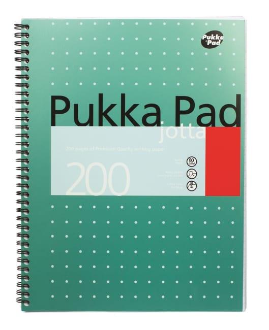Pukka Pad spirálový  blok Metallic Jotta A4, papír 80g,100 listů, linkovaný,zelený