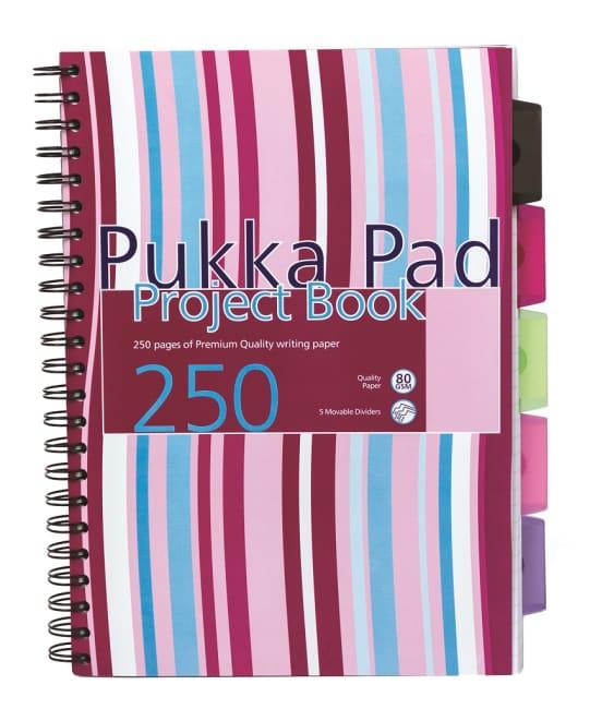 Pukka Pad projektový  blok  Stripes A4, papír 80g,125 listů,proužky(bílá,růžová,modrá)