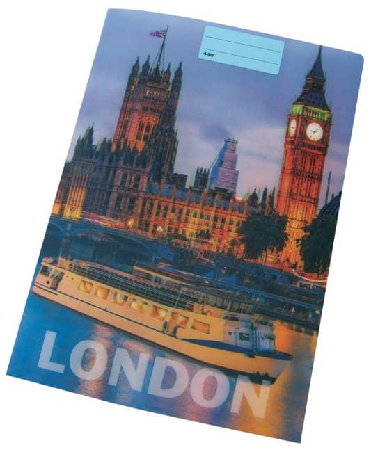 sešit 444 s 3D motivem, A4, 40 listů,linkovaný, motiv LONDON