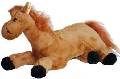 Kůň ležící, hnědý, vel. 35 cm
