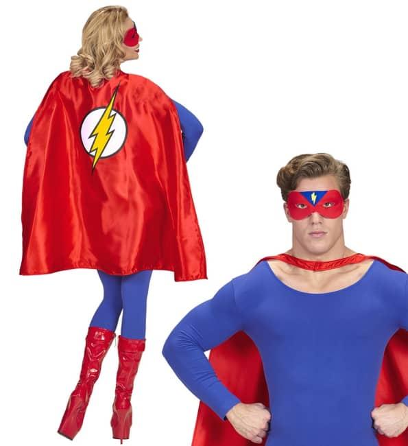 Červený plášť superhrdiny se škraboškou a znakem